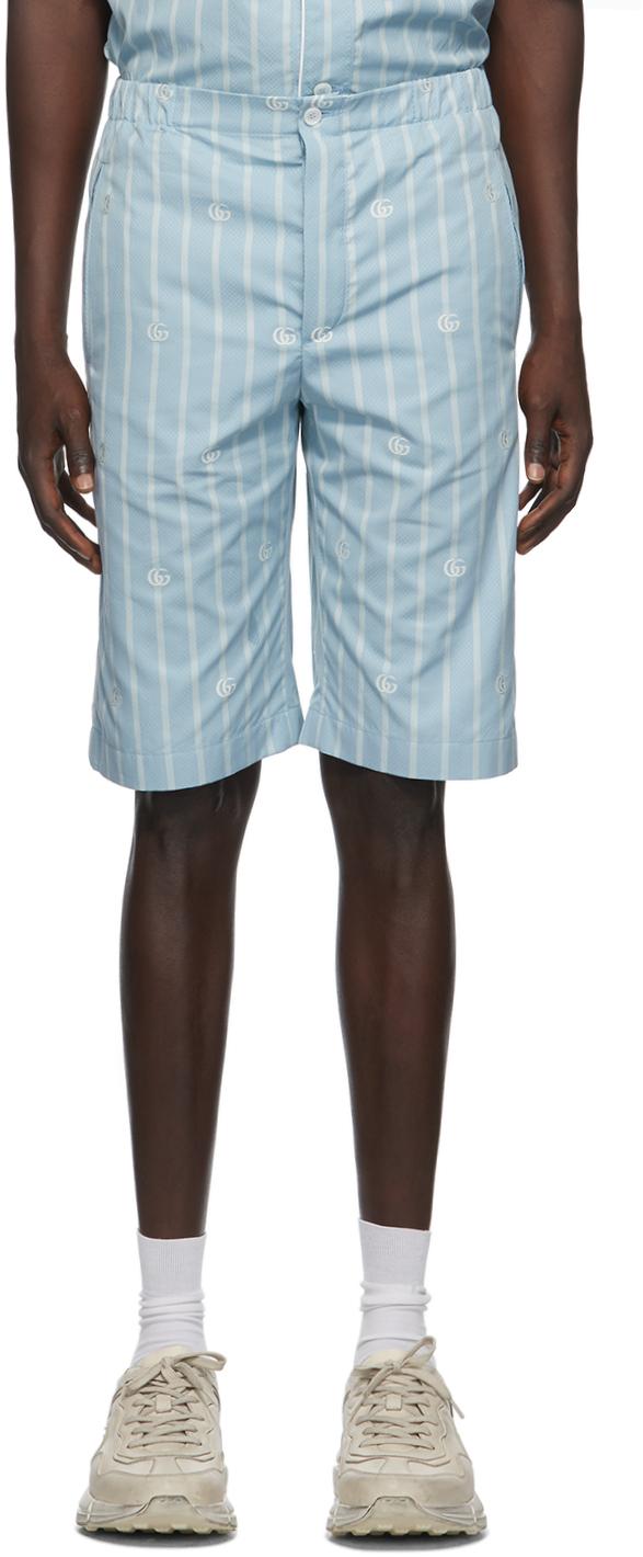Gucci 蓝色 GG 条纹短裤