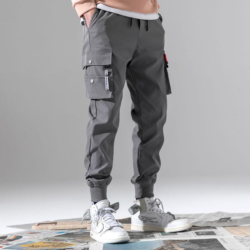 潮流短織帶.硬挺工裝縮口褲.男女可穿.九分褲版型男生建議買大1~2號【QTJK602】