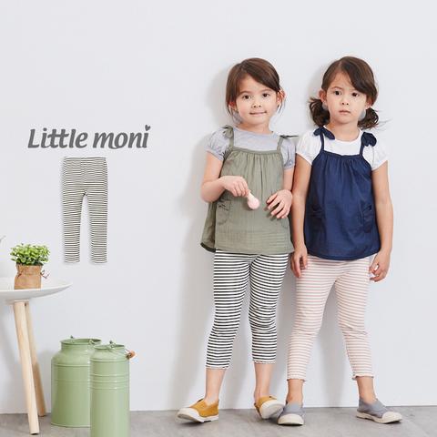 Little moni 條紋七分內搭褲(黑色)