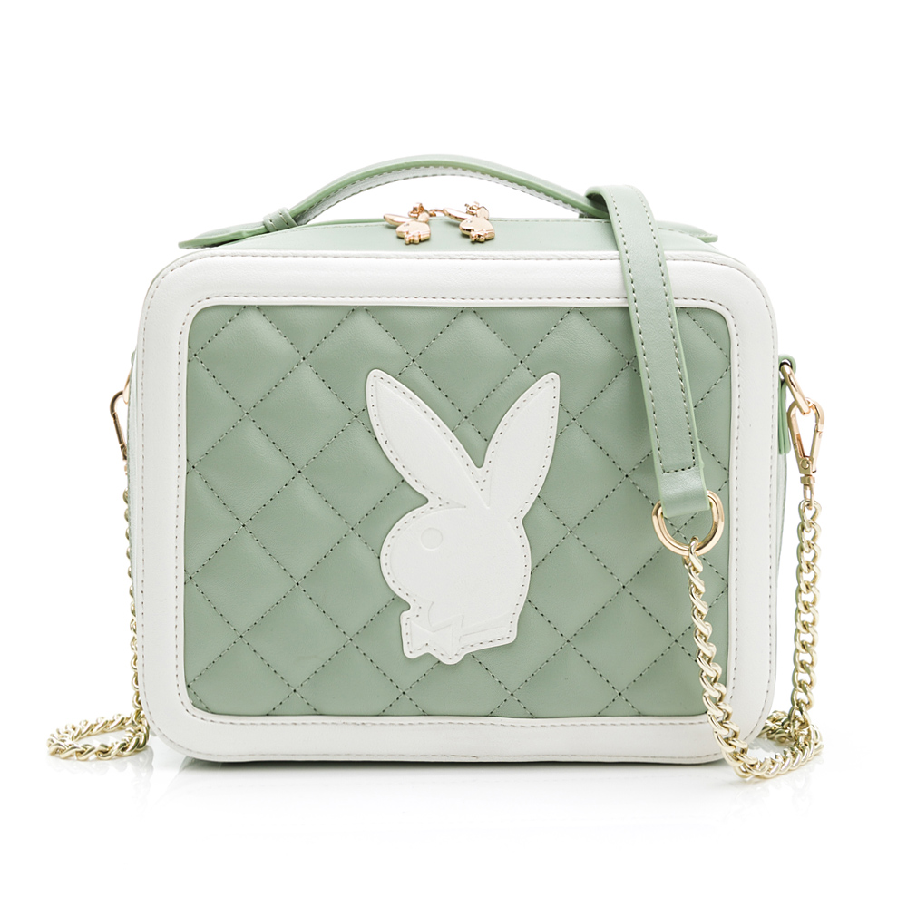PLAYBOY- 手提斜背包雅緻兔頭風格系列-綠色(502-1301-40-7)