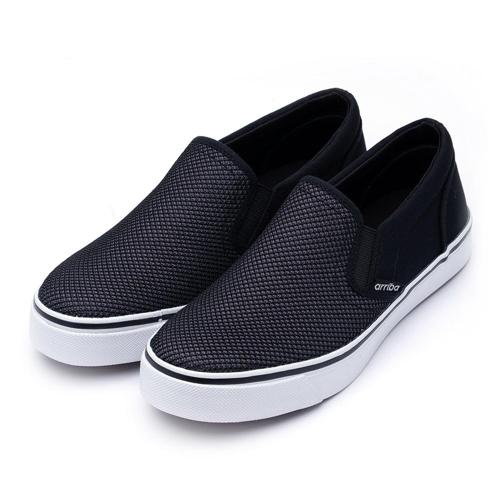 ARRIBA艾樂跑男鞋-素面拼接懶人鞋 便鞋-黑(AB8071)