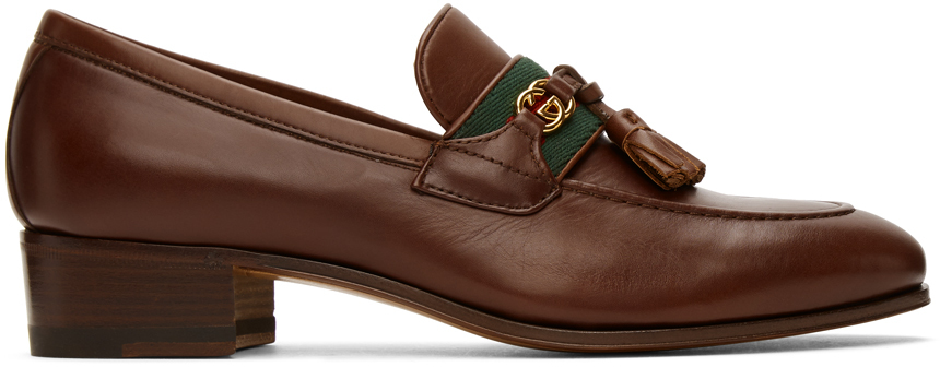 Gucci 棕色 Web Interlocking G 中跟乐福鞋