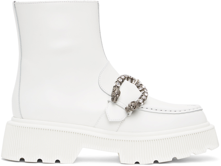 Gucci 白色 Tiger Head 踝靴