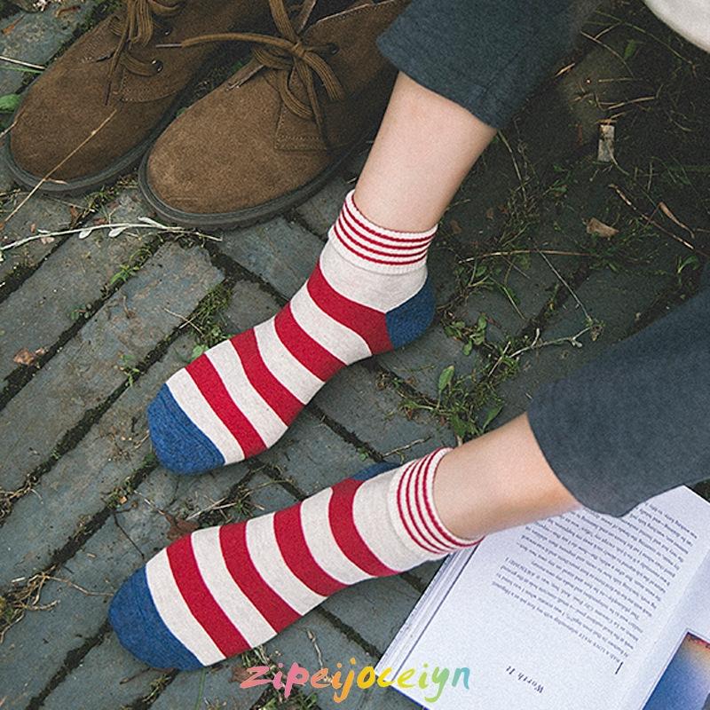 襪子 女襪 中筒襪 個性 粗條紋 拼色 棉襪 日系 翻邊 甜美 中筒靴襪 長襪
