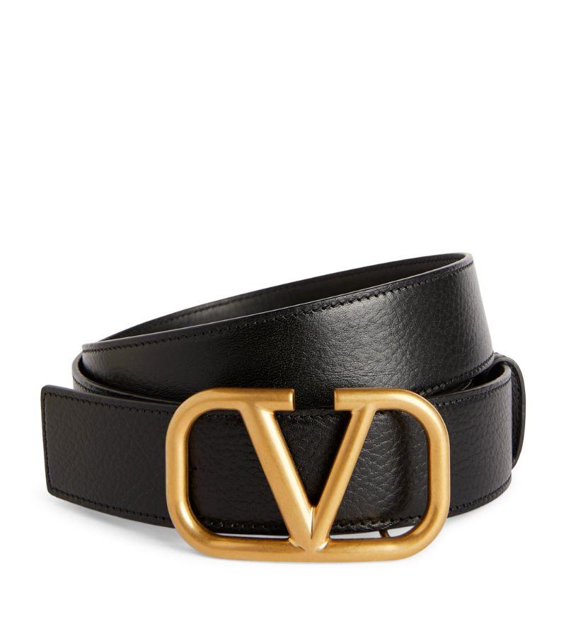 Valentino Valentino Garavani Leather Vlogo Belt