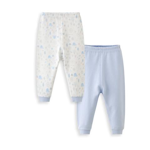 【網路獨家款】les enphants  精梳棉小象森林兩件組長褲-藍色