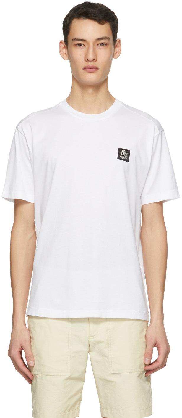 Stone Island 白色徽标贴饰 T 恤