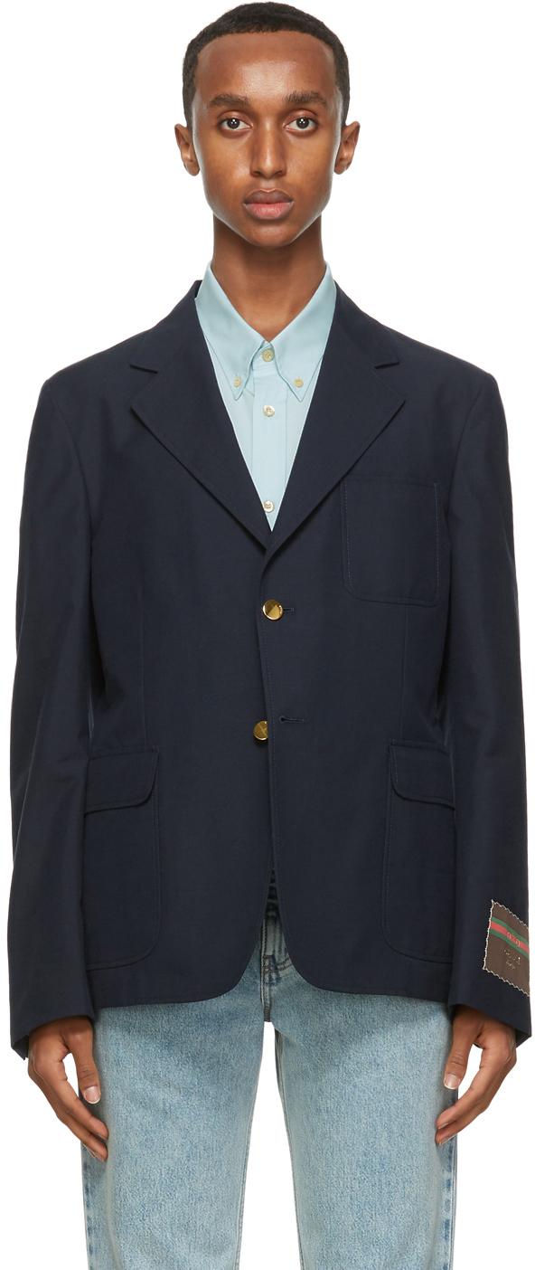 Gucci 海军蓝薄纱西装外套