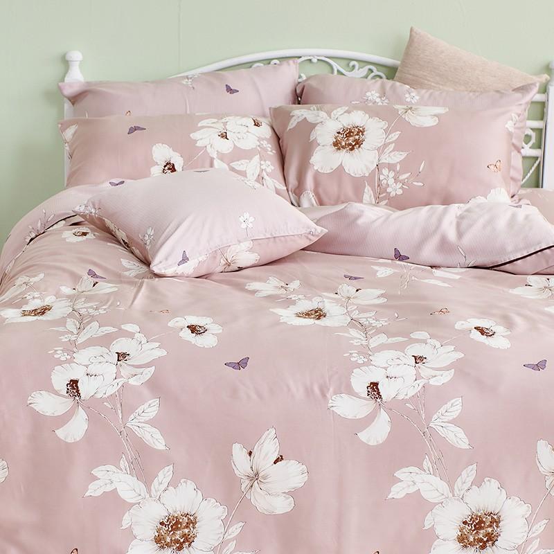 戀家小舖 100%天絲【嫣粉】床包被套組 含枕套 40支天絲 台灣製 雙人/加大/特大