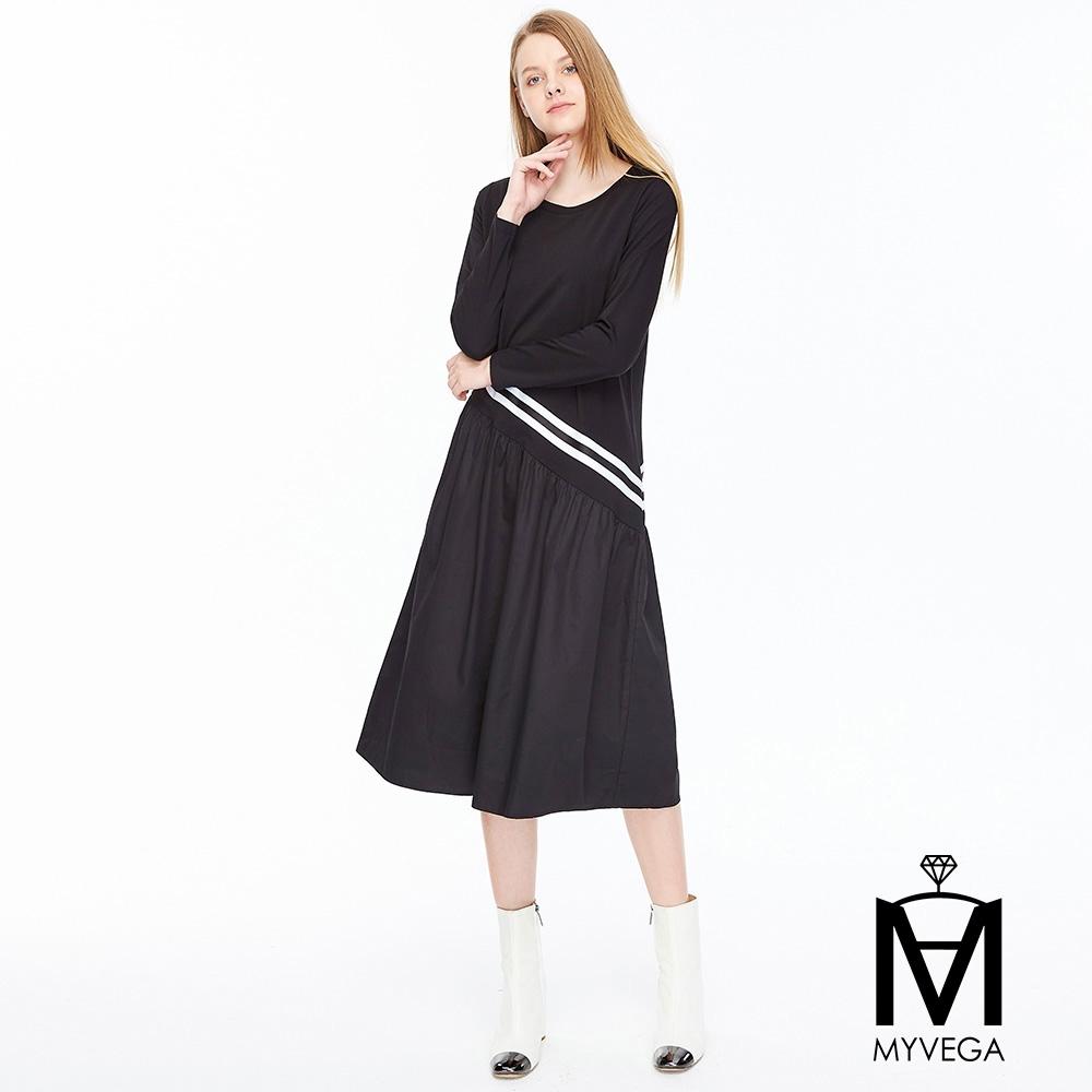 【麥雪爾】MA純棉織帶連身洋裝-黑