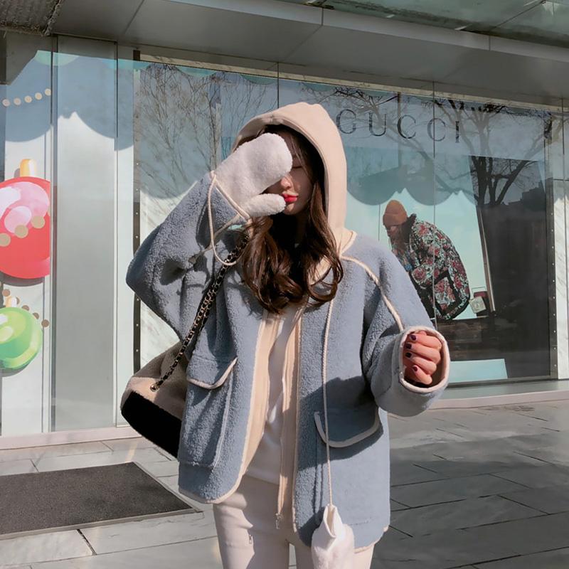 ★秋冬現貨★拼接羊羔毛拉鍊連帽外套-eFashion【N15700568】