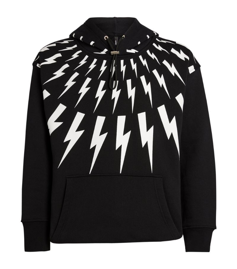 Neil Barrett Cotton Fair Isle Thunderbolt Hoodie