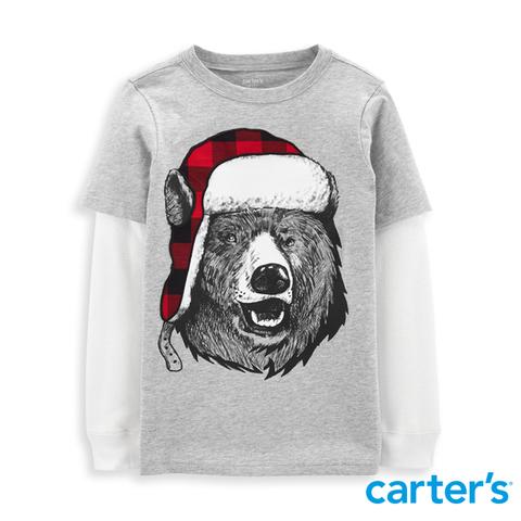 Carter's 台灣總代理 冬季北極熊假兩件長袖上衣