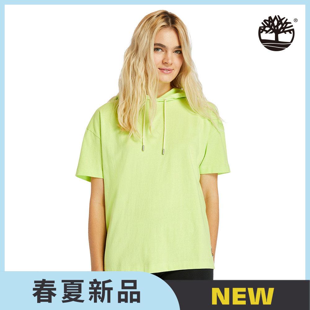Timberland 女款螢光黃色黃靴徽章有機棉連帽T恤|A2F94BH4
