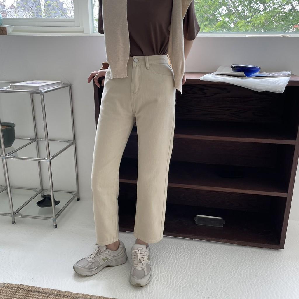 卡士達醬高腰直筒牛仔褲 高腰褲 直筒褲 奶油褲 杏色牛仔褲 長褲 褲子 顯瘦褲 GRASS 現貨 [B6699]