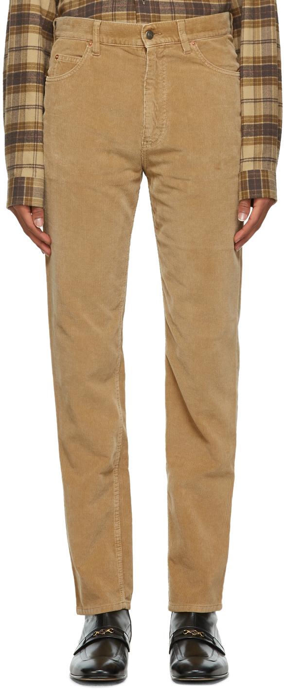 Gucci 棕色水洗灯芯绒长裤