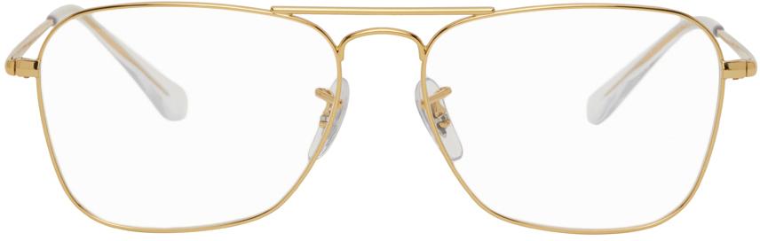 Ray-Ban 金色 Caravan II 眼镜