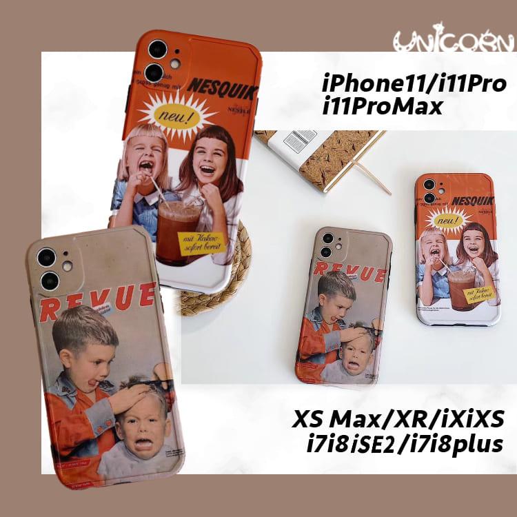 -兩款-表情浮誇的歐美男孩女孩 iPhone全包軟殼 保護殼 手機殼【CO1091011】Unicorn