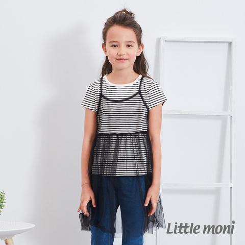 Little moni 網紗假兩件式上衣(黑色)