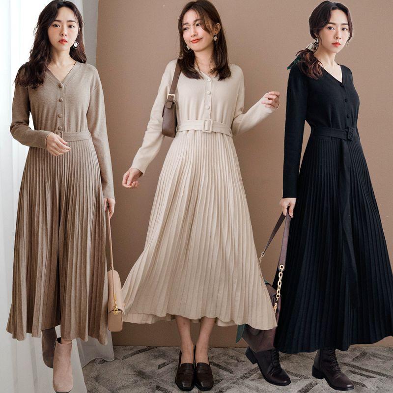 現貨★75折★包布排釦立體坑條裙襬附腰帶柔軟針織洋裝(共3色)1222 【NH3508】