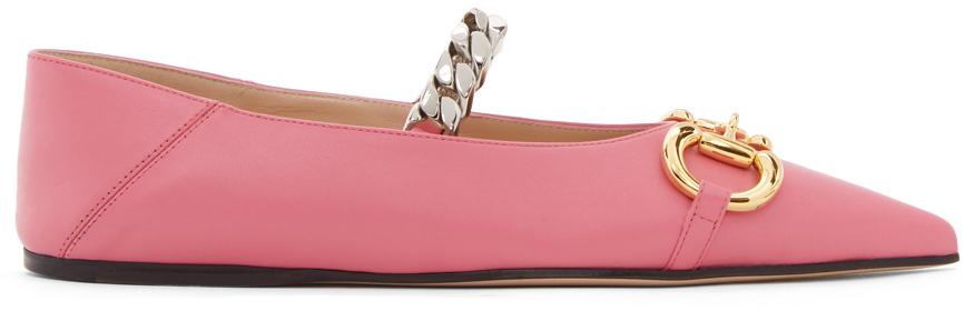 Gucci 粉色马衔扣芭蕾鞋