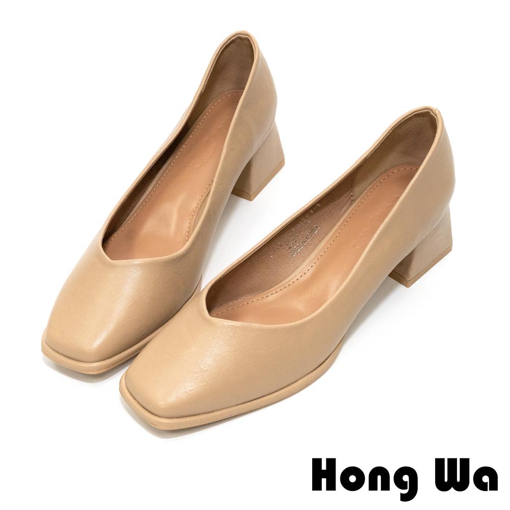 Hong Wa 極簡設計‧素面牛紋皮深口方頭低跟鞋 - 卡其