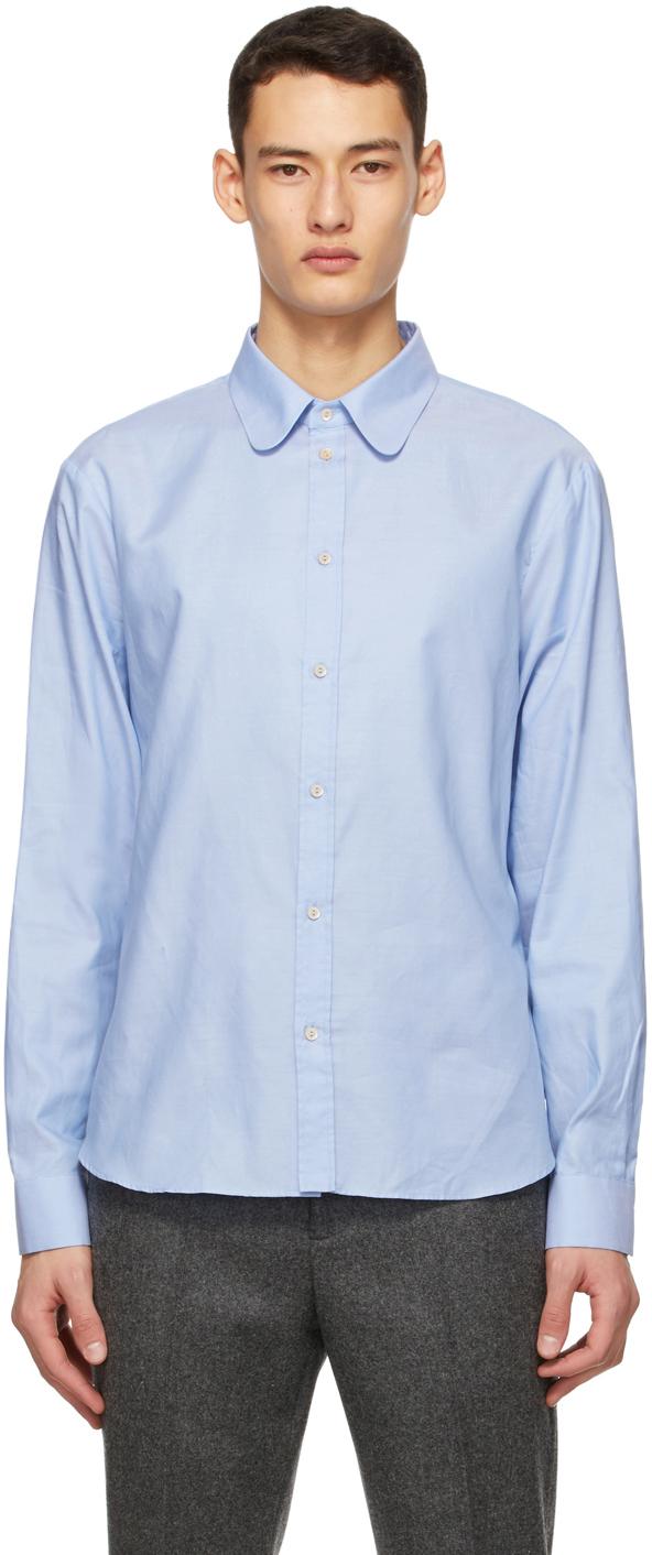 Gucci 蓝色圆角领牛津纺衬衫