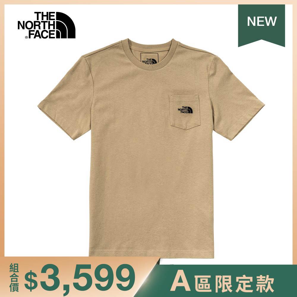 The North Face北面男女款卡其色胸前口袋短袖T恤|4NEVH7E