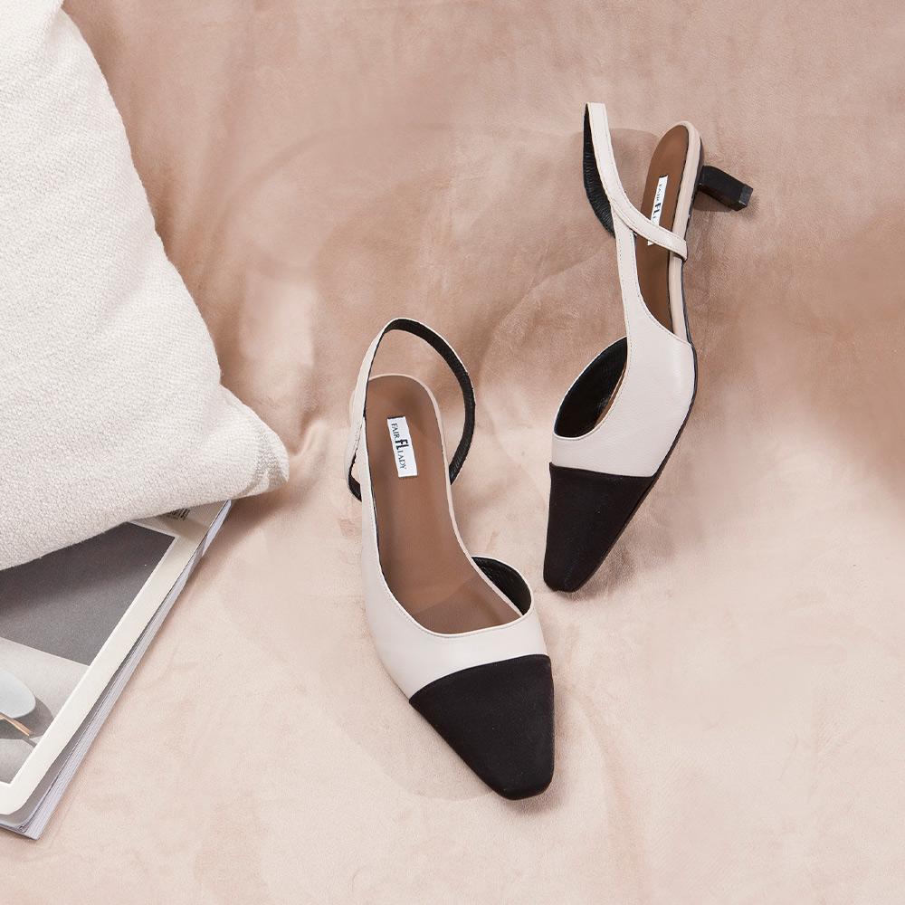 【新品】優雅小姐 雙色拼接後拉帶低跟涼鞋 卡其 (402337)