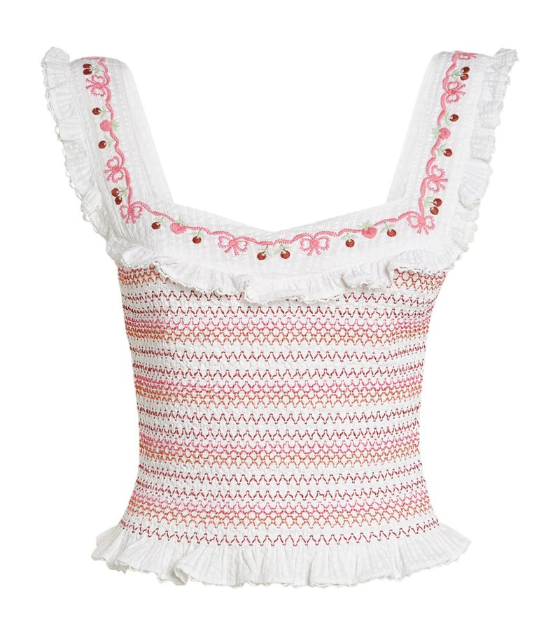 Loveshackfancy Smocked Manila Crop Top