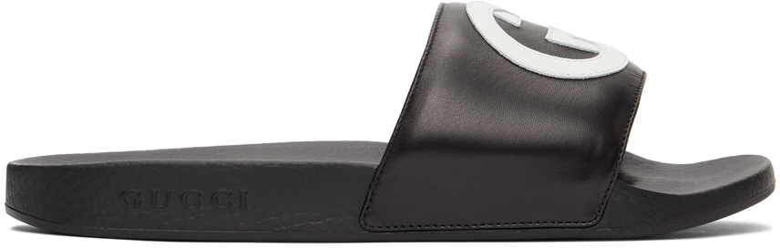 Gucci 黑色 Interlocking G 拖鞋