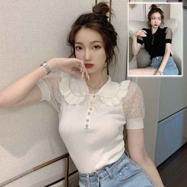 韓版法式復古娃娃領針織網紗拼接短袖上衣 泡泡袖短版鎖骨心機上衣(2色)-凱西娃娃