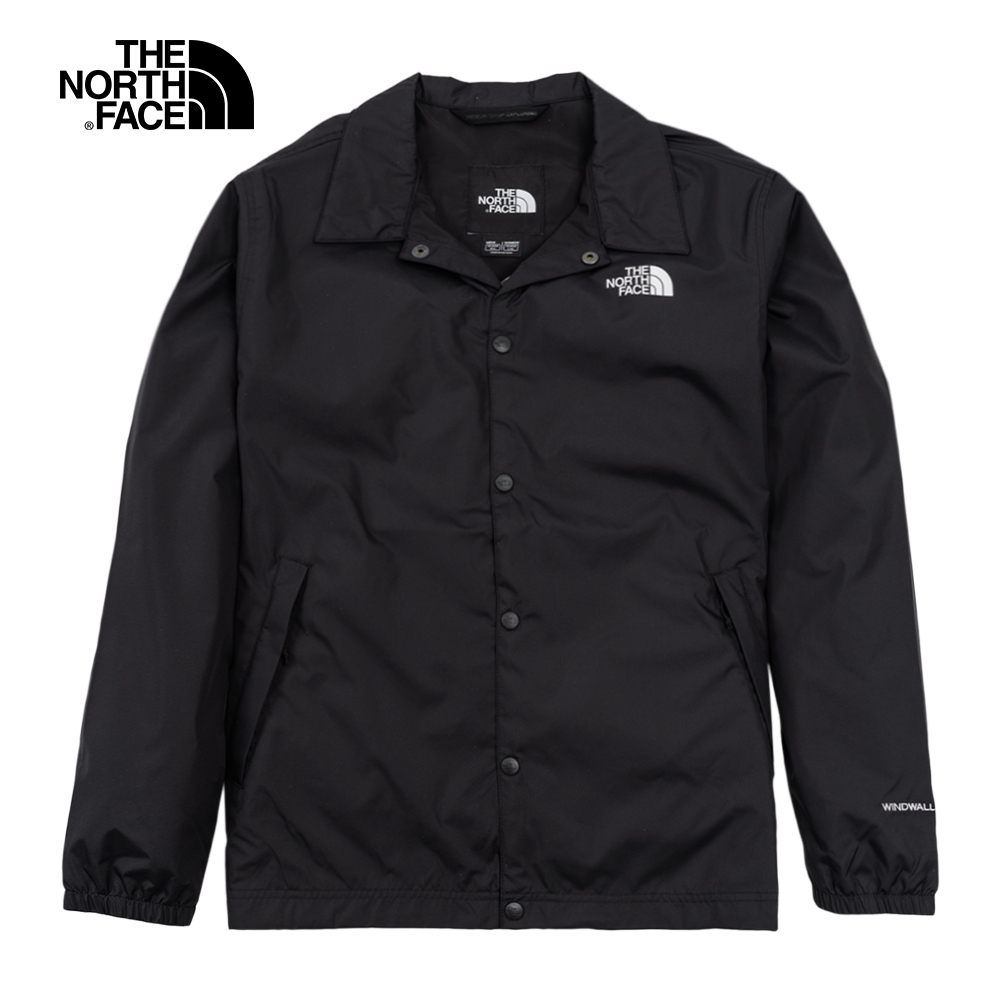 The North Face北面男女款黑色防潑水襯衫領防風教練外套|4U8WJK3