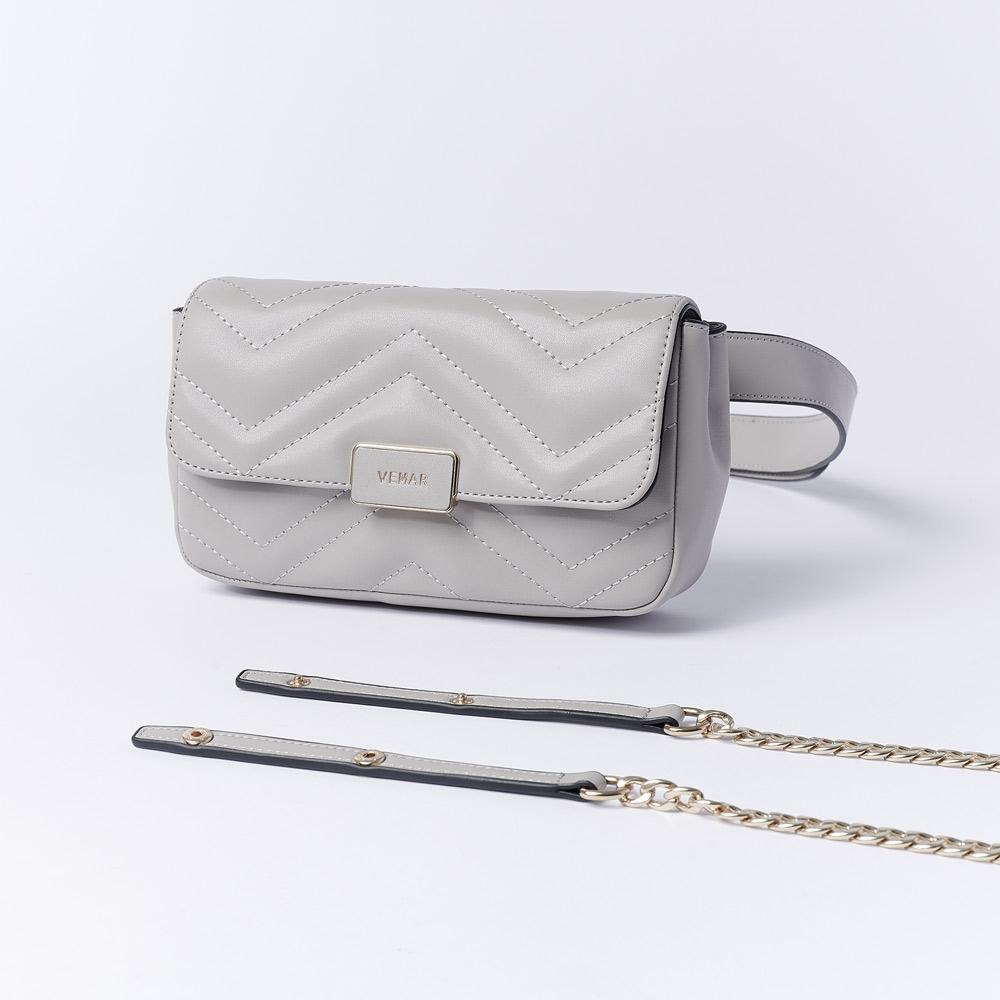 VEMAR輕奢個性兩用鍊帶腰包(簡約灰)
