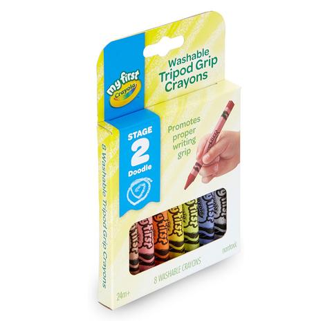 美國crayola繪兒樂 幼兒可水洗三角筆桿蠟筆8色