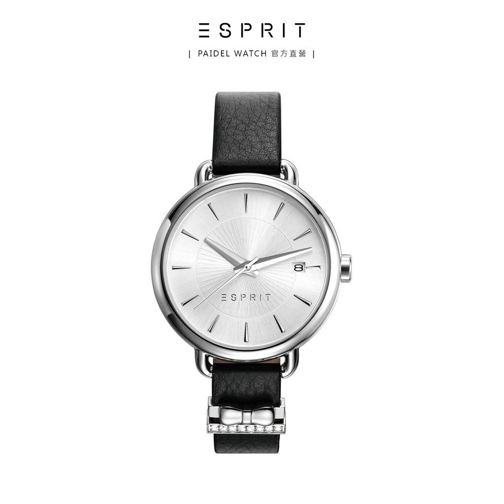 ESPRIT 晶鑽蝴蝶結時尚腕錶