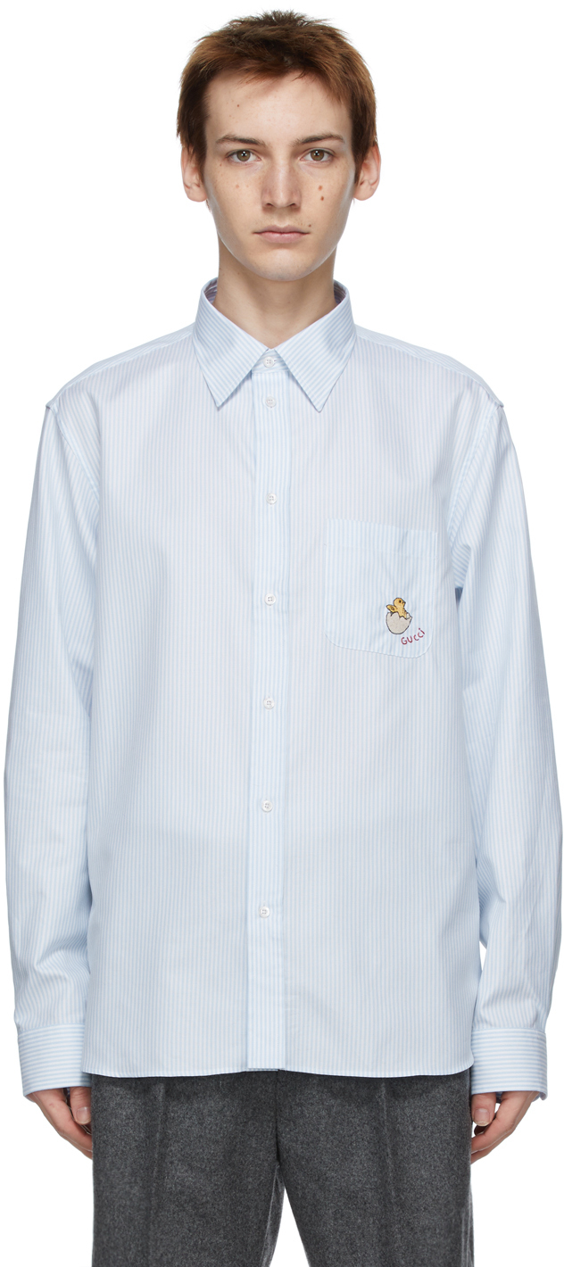 Gucci 白色 & 蓝色 Chick 条纹衬衫