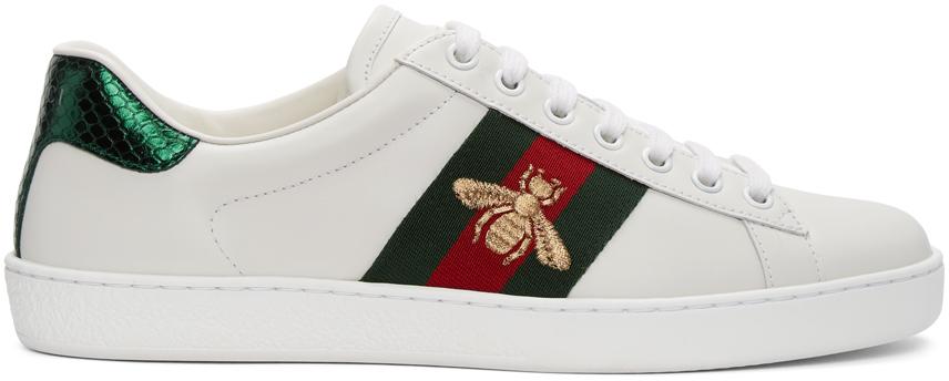 Gucci 白色 Bee New Ace 运动鞋