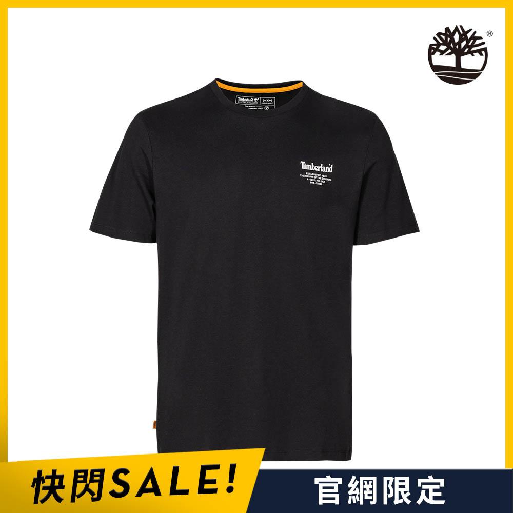 Timberland 男款黑色背後斜紋LOGO印花短袖T恤|A2D6D001