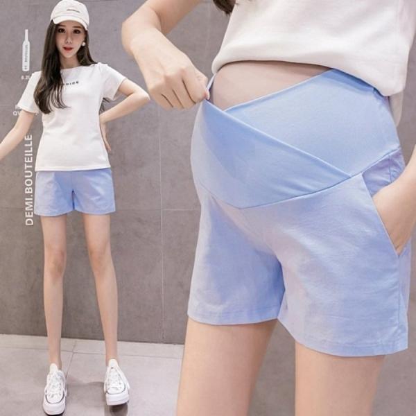 漂亮小媽咪 韓系 托腹短褲 【P0421】 棉麻 孕婦 短褲 低腰 孕婦褲 純色 運動風 孕婦短褲
