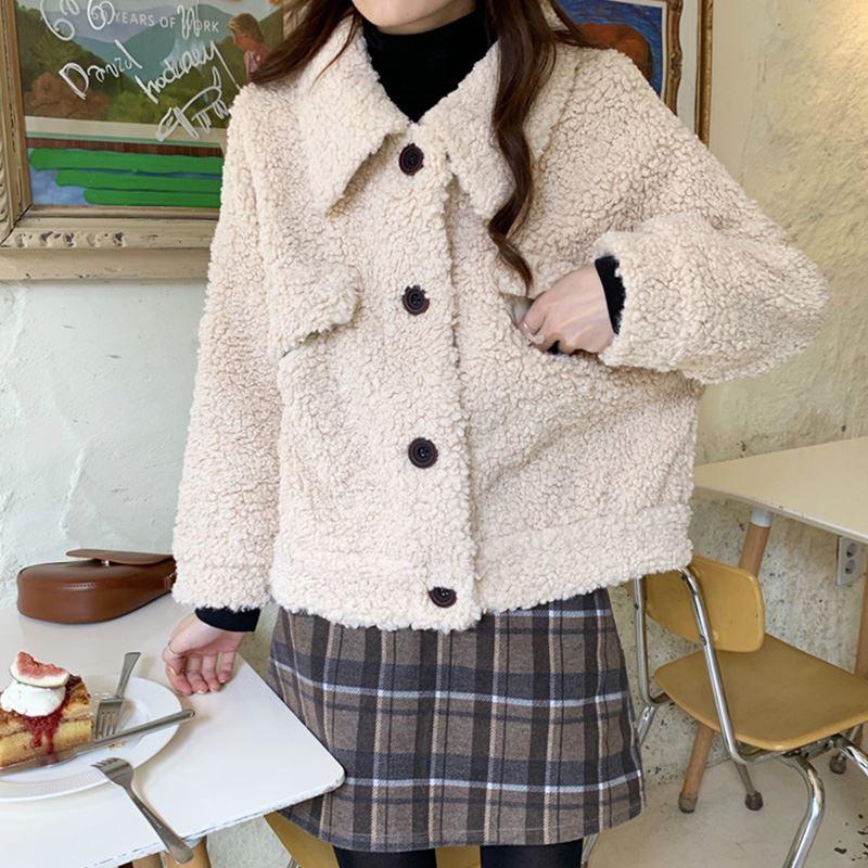★秋冬現貨★羊羔毛短版外套-eFashion【N16523060】