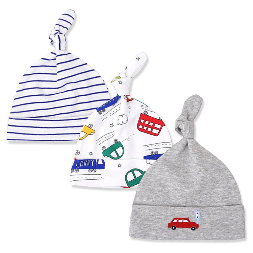 新生兒帽子 初生嬰兒啾啾胎帽 三件組 多色汽車【CH002E0080】