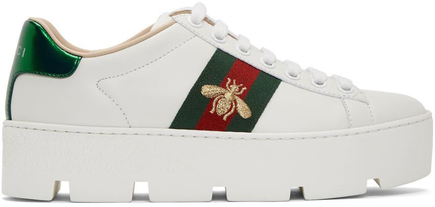 Gucci 白色 Ace 厚底运动鞋