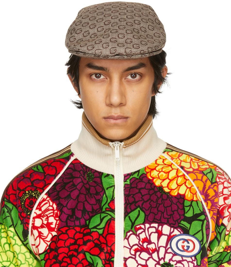 Gucci 棕色 G Grisaille 羊毛报童帽