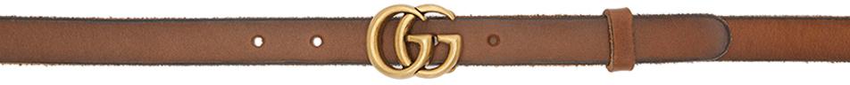 Gucci 棕色 GG Marmont 窄版腰带