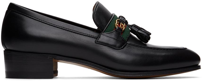 Gucci 黑色 Web Interlocking G 乐福鞋