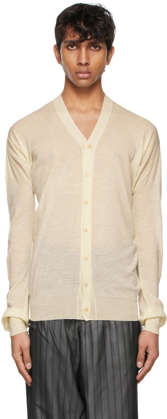 Maison Margiela 灰白色 Y 领开衫