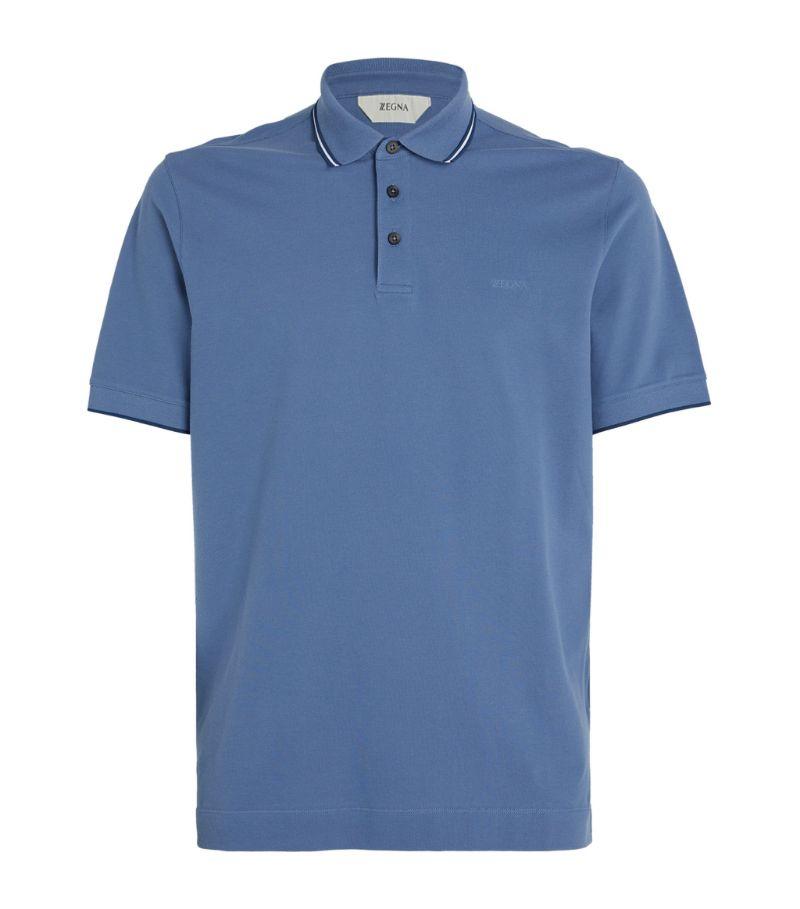 Z Zegna Tipped Cotton Piqué Polo Shirt