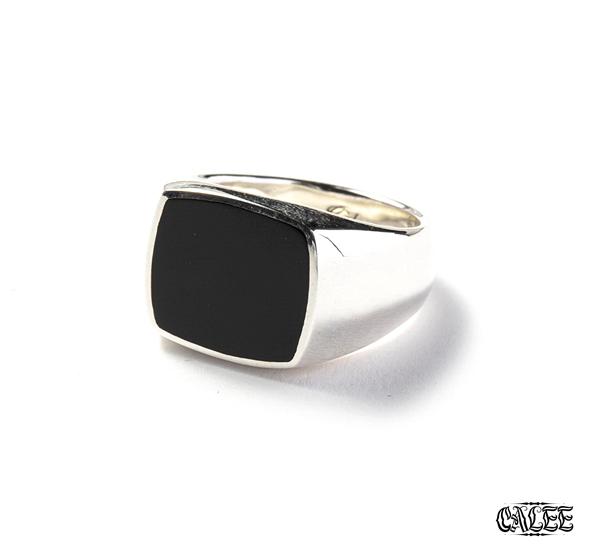 CALEE Resin Signet Ring 純銀復古圖章戒指