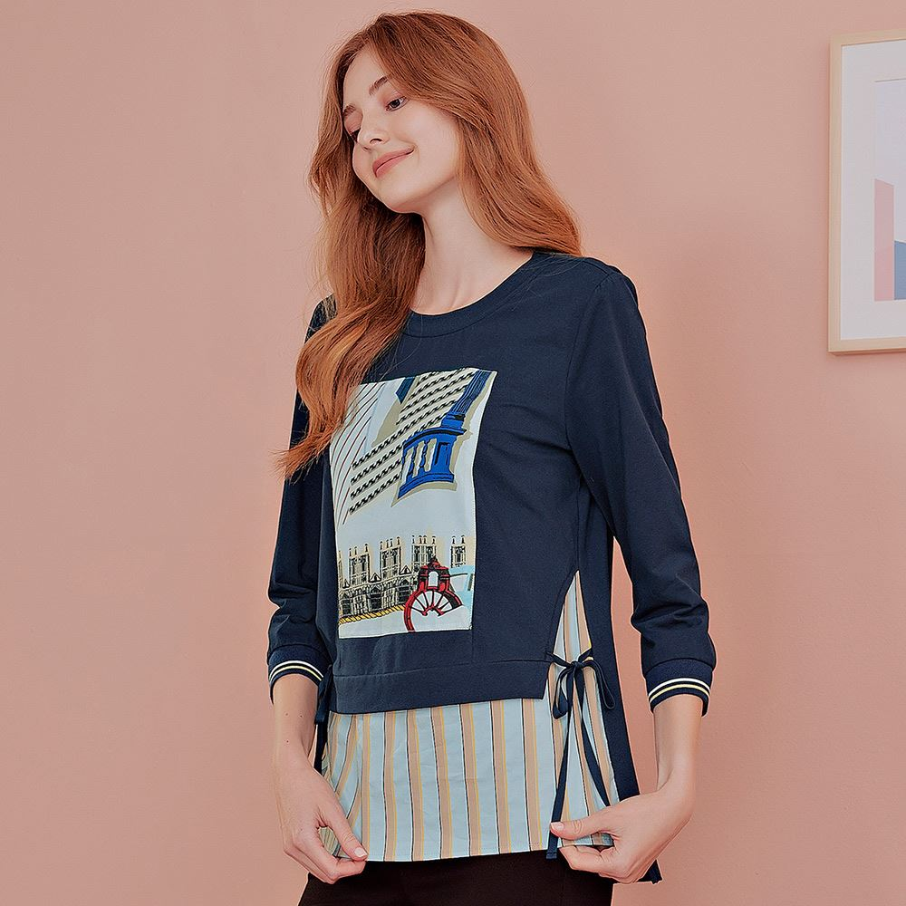 OUWEY歐薇 休閒感假兩件綁帶抽象圖上衣(藍)J56122